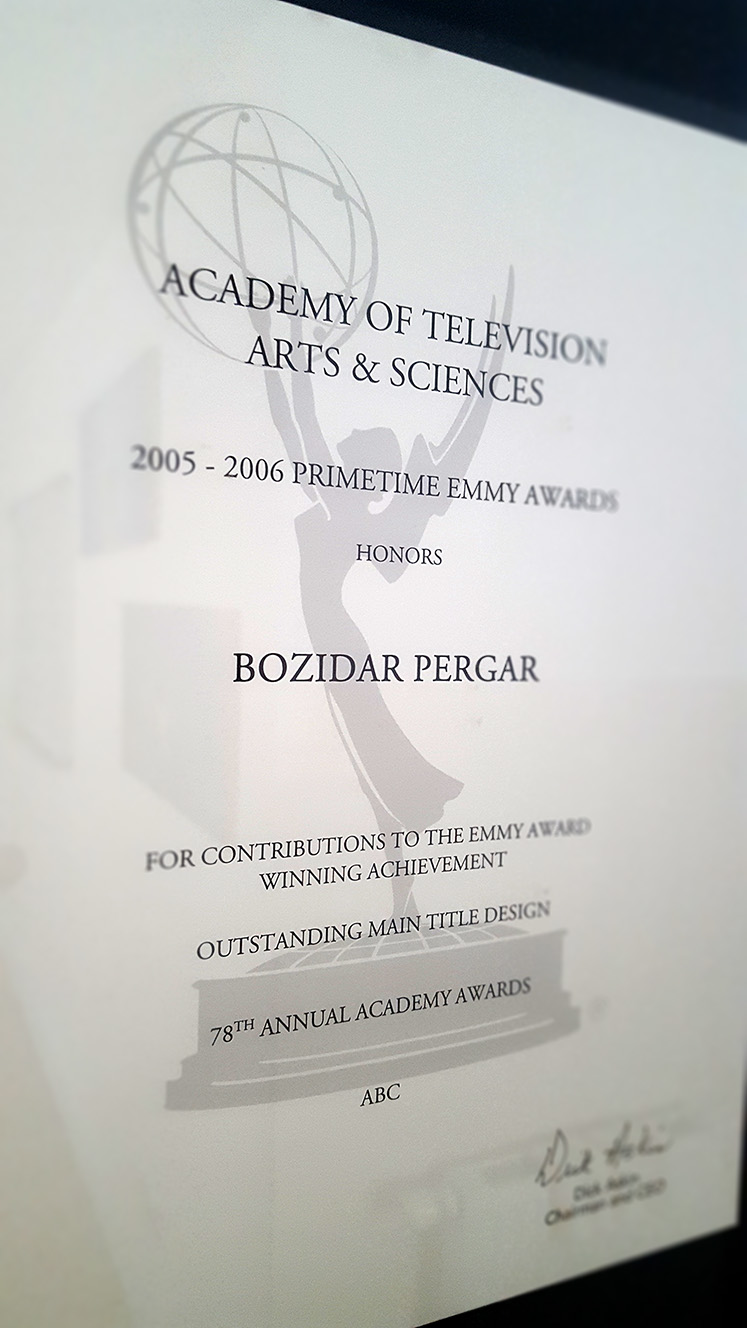 Emmy Award Bozidar Pergar Face Design