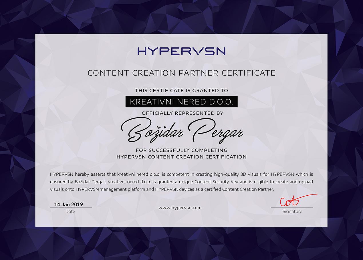 HYPERVSN Certificate